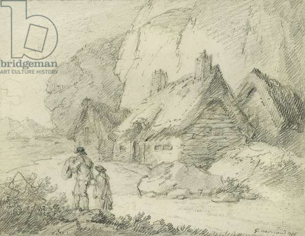 Travellers returning home, 1795 (pencil on paper)