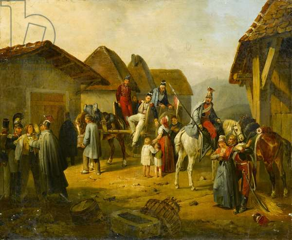 Austrian cavalry resting in a village (oil on canvas)