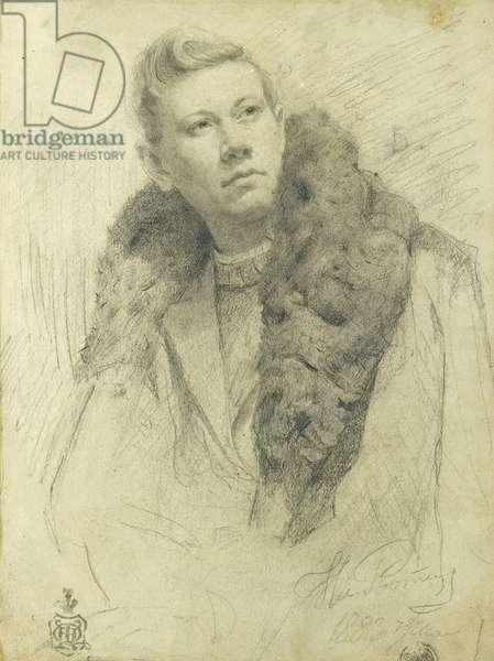 Portrait of Feodor Chaliapin, 1888 (pencil on paper)