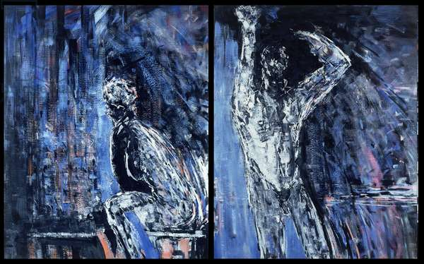 Naked woman and naked man, 1990 (oil on canvas) (see also 309783 and 309786)