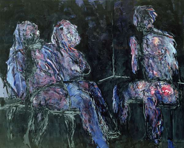Two women and a man, 1986 (oil on canvas)