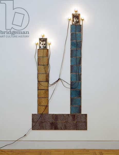 Monument, 1986 (dye destruction prints, light bulbs, wire, tape, tin, cardboard, and Plexiglas)