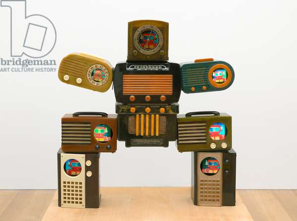 Untitled [Bakelite Robot], 2002 (video on six monitors in vintage radios)