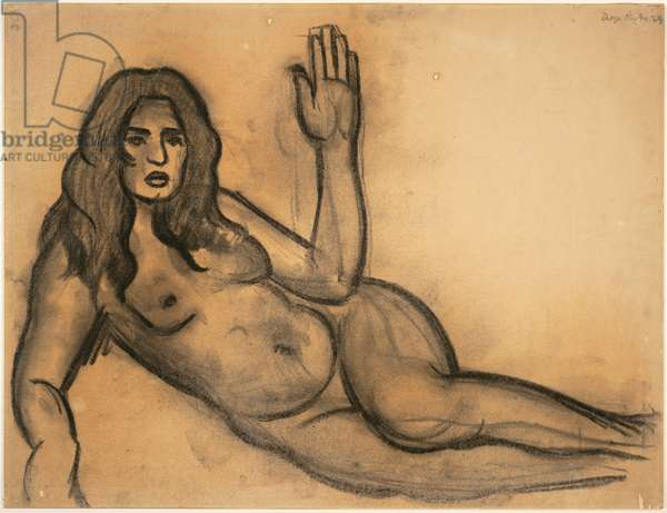 Study for the Fertile Earth [Guadalupe Marín], mural study for the Escuela Nacional de Agricultura (now the Universidad Autónoma Chapingo), Chapingo, Mexico, 1924 (charcoal on cardboard and paper)