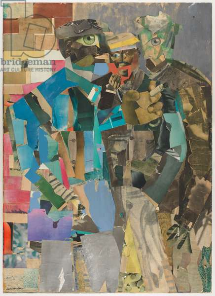 Three Men, 1966-1967 (printed and painted papers, watercolor, and graphite on canvas)
