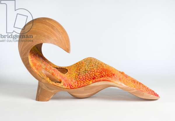 Gemini acoustic chaise longue, 2014 (plastic and wood)