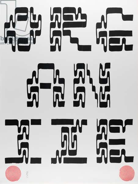 ORGANIZE I [Calligraphy poster to support 8 BALL COMMUNITY] poster, 2017 (laser print and rubber stamp on paper)