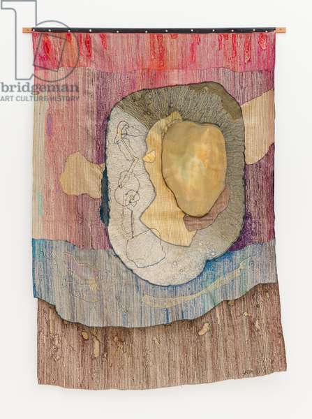 Metabola, 1981 (textile collage with brass, thread and wood)