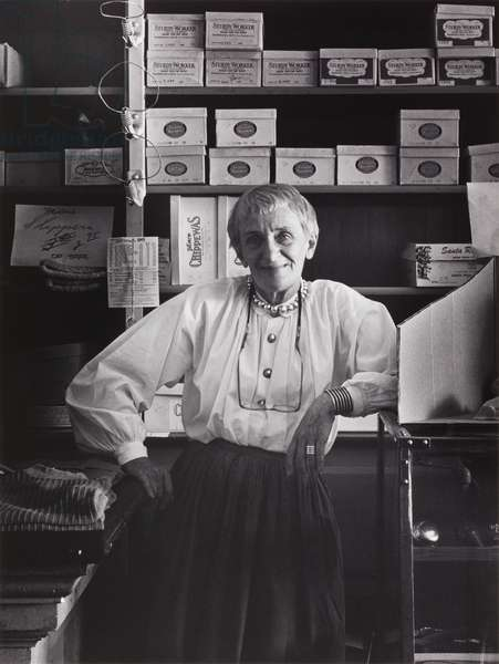 Dorothea Lange in Cook, McKenzie and Son Store, Monticello, Berryessa Valley, from the series Death of a Valley, 1956 (gelatin silver print)