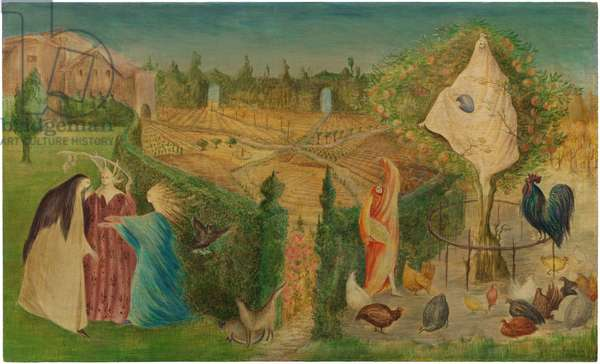 The Kitchen Garden on the Eyot, 1946 (tempera on wood panel)