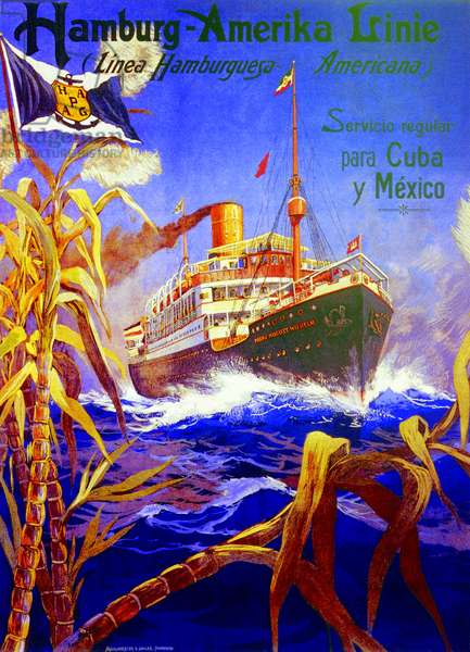 Poster advertising the Hamburg American Line, 1903 (colour litho)