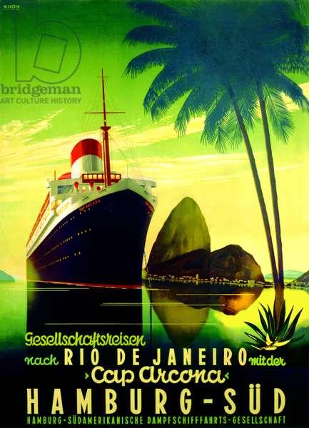'To Rio de Janeiro', poster advertising the Hamburg Southern Line, 1928 (colour litho)