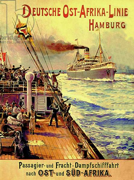 Poster advertising the German East Africa Line, Hamburg, 1904 (colour litho)