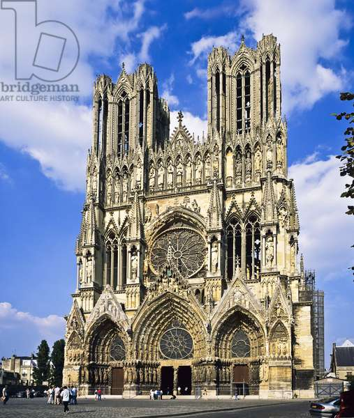 View of Reims Cathedral, France (photo)
