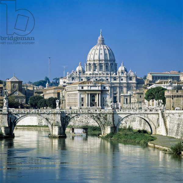 Tiber River and St. Peter's Basilica, Rome, Italy (photo)