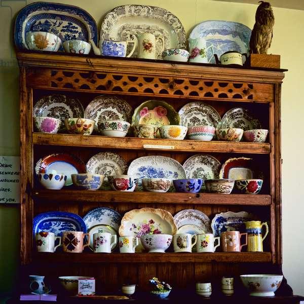 Dresser with plates and mugs, County Mayo, Ireland (photo)