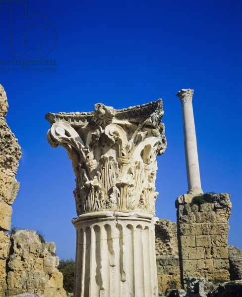 Capital and column, ruins of Antonine Roman thermal baths (photo)