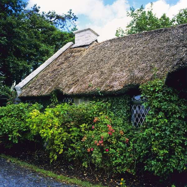 View of a thatched cottage, Maam Cross, Connemara, County Galway (photo)