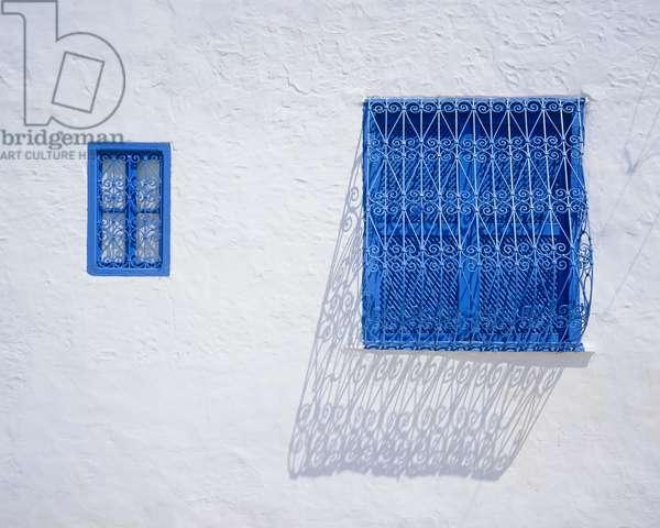Traditional blue wrought iron windows (photo)