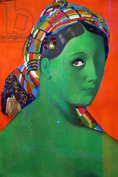 Made in Japan - La grande odalisque, 1964 (acrylic paint, glass, fly, trimmings in synthetic fiber on photograph linen)