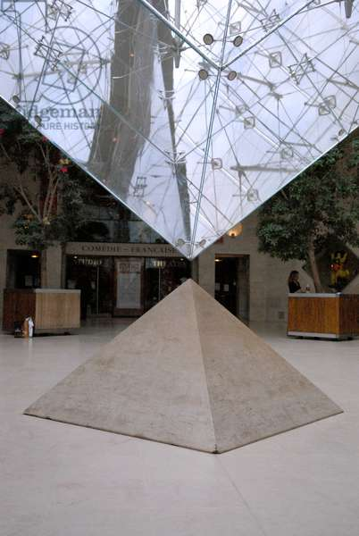an inverted pyramid in Louvre with the little pyramid underneath, Paris (photo)