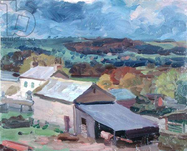 The Farm in a Thunderstorm, 1960 (oil on hardboard)