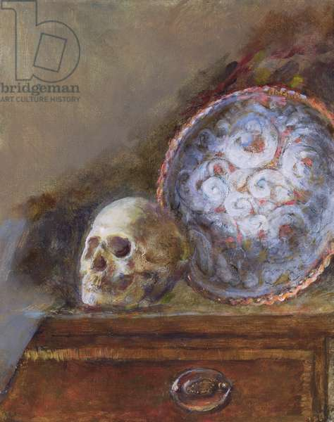 Skull and Plate (oil on canvas)