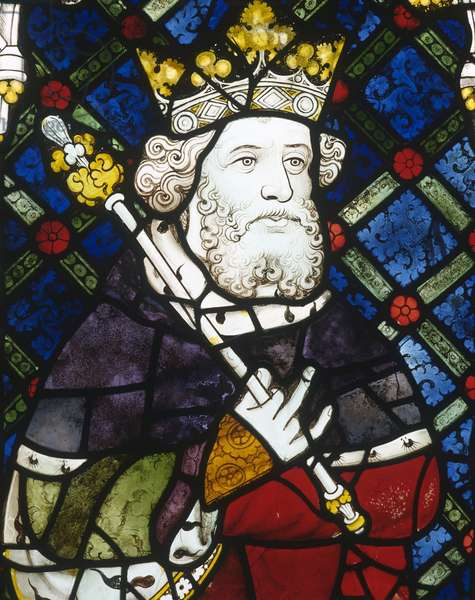 Window depicting King Canute, from the Great West Window (stained glass)