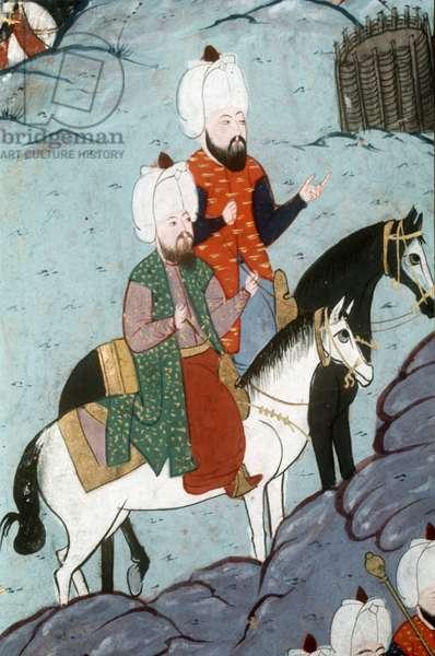 Suleyman I, Ottoman sultan 1520-1566 and companion on horseback, detail