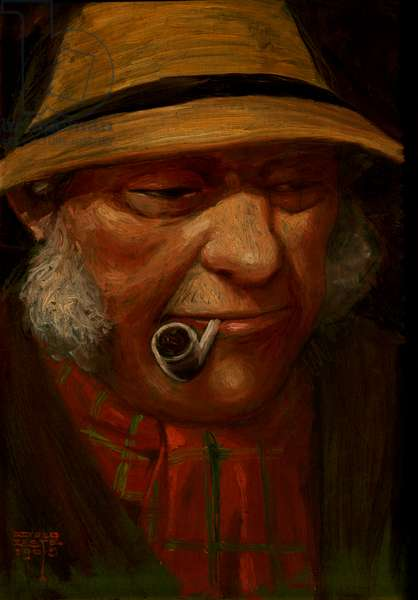 Painting of man smoking pipe, 1905 (oil paint on board)