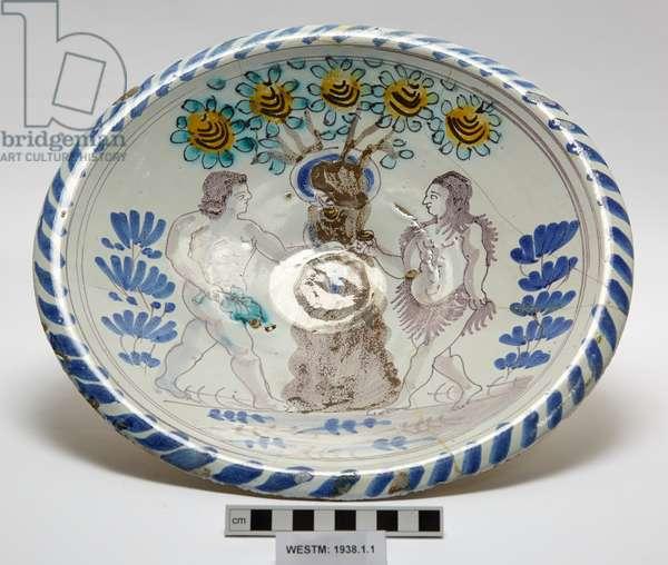 Delftware plate, c.1650-1745 (earthenware, tin glaze)