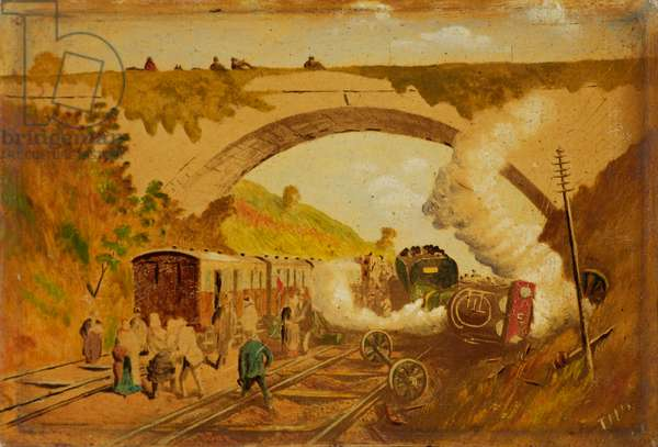 Railway Accident at Flax Bourton, 1876 (oil on canvas)