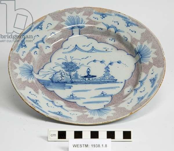 Delftware plate, 1740-1750 (earthenware, tin glaze)