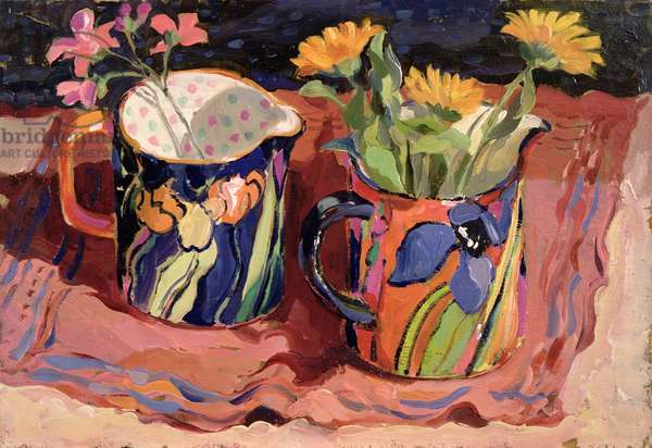 Still life with Marigolds (oil on board)