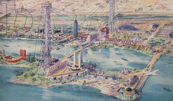 Century Of Progress Aerial View (Right), 1933 (colour litho)