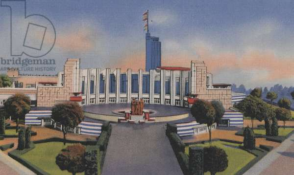 Hall Of Science At The Century Of Progress, 1933 (colour litho)