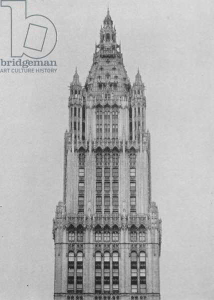 Exterior View Of A Section Of The Woolworth Tower, Showing A View Of Floors 38-60, 1917 (b/w photo)