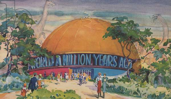 The World a Million Years Ago Exhibit at the Century of Progress, 1933 (colour litho)