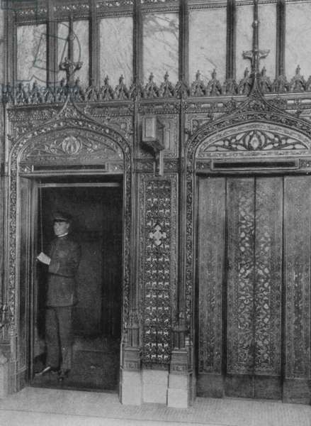 Image Showing The Elevator That Takes Passengers Up To The Observation Gallery Of The Woolworth Building, 1917 (b/w photo)
