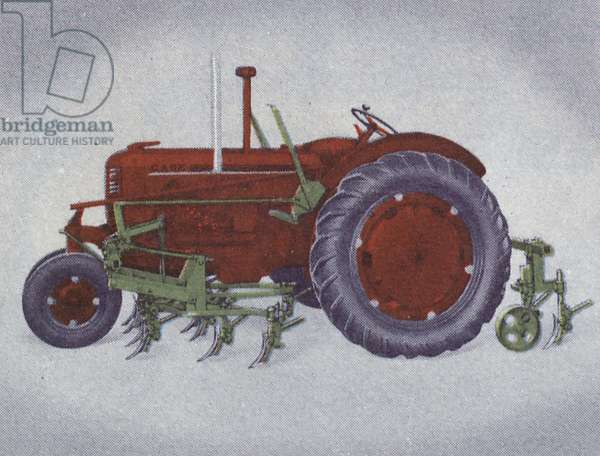 An Eastern Potato Cultivator mounted on a Case tractor, 1939 (colour litho)