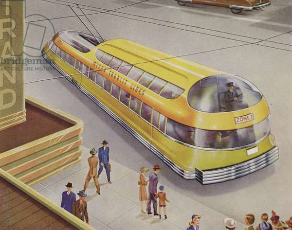 Illustration Of A Futuristic Trolley Coach
