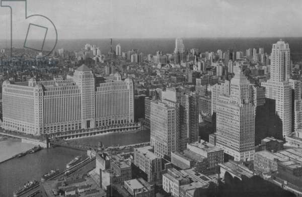 Panoramic View Of The Business District In Chicago, c.1930 (b/w photo)