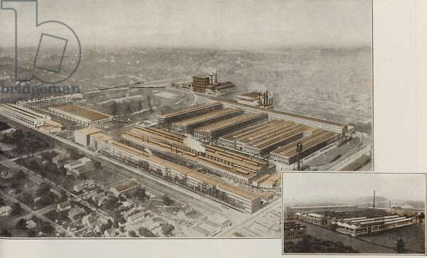 An Aerial View Of The Allis Chalmers Monarch Tractor Factory, c.1929 (colour litho)