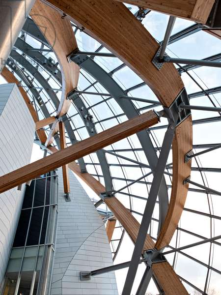 Detail of the support structure of the glass sails, Fondation Louis Vuitton project by Frank Owen Gehry, Paris, France (photo)