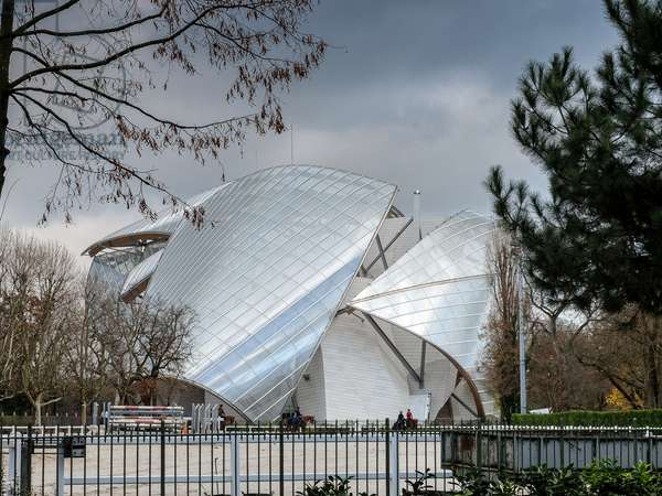 View from the Riding School of the Paris project, Fondation Louis Vuitton project by Frank Owen Gehry, Paris, France (photo)