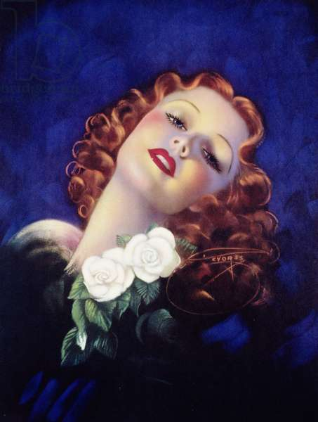 Redhead with Gardenias, printed by J. Dow, c.1948 (colour litho)