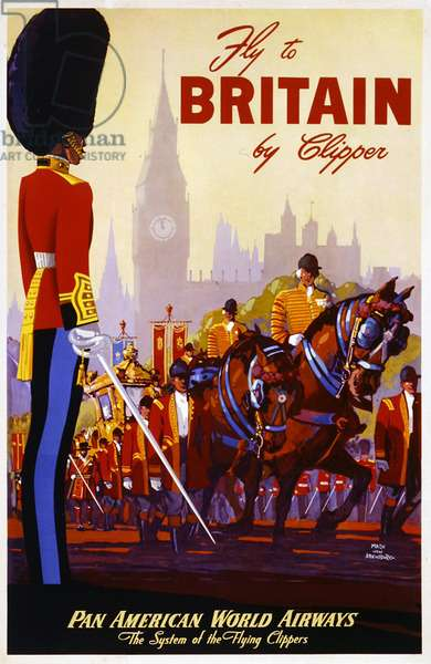 'Fly to Britain by Clipper', advertisement for Pan Am American World Airways, 1953 (colour litho)