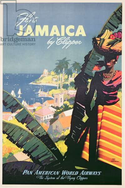 Fly to Jamaica by Clipper, advertisement for Pan Am, c.1950 (colour litho)