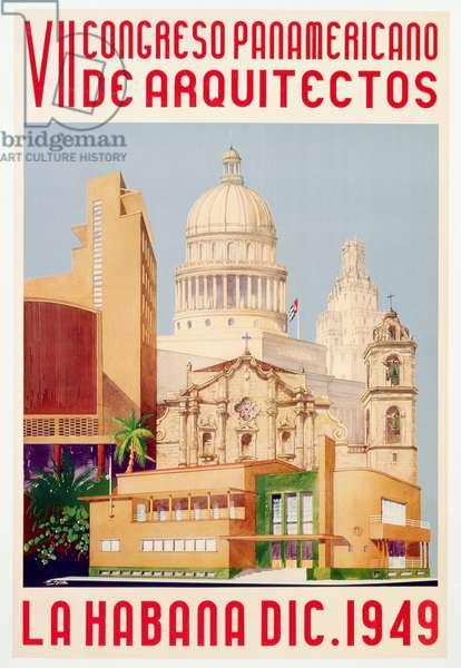 Advertisement for VII Congresso Panamericano de Arquitectos, La Habana Dic., 1949 (colour litho)