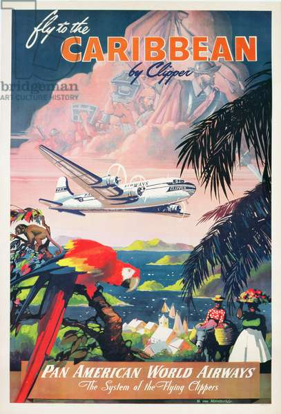 Poster advertising 'Pan American World Airlines', c.1948 (colour litho)